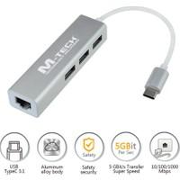 M-Tech Mtuce0174 Usb Type-C 3 Port Usb3.0 Hub Ve Gigabit Ethernet Adaptörü