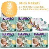 Bambo Nature Bebek Bezi Midi 3 Beden 165 Adet