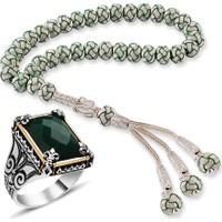 Zevahir Gümüş 1000 Ayar El Örgüsü Kazaz Tesbih Ve Erkek Yüzüğü