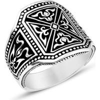 Zevahir Gümüş Özel İşlemeli Erkek Yüzüğü 925 Ayar Gümüş