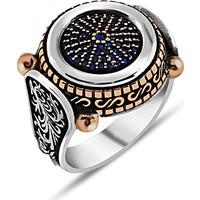 Zevahir Gümüş Mikro Safir Taşlı Özel Tasarım Erkek Yüzüğü 925 Ayar Gümüş