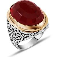 Zevahir Gümüş 925 Ayar Gümüş Kırmızı Taşlı Erkek Yüzüğü