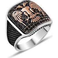 Zevahir Gümüş 925 Ayar Gümüş Mikro Taşlı Çift Başlı Kartal Erkek Yüzüğü