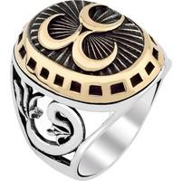 Işık 3 Hilal Motifli Osmanlı Tuğrası Ve Vav İşlemeli 925 Ayar Gümüş Yüzük