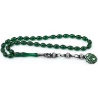 İnan Ateş-i Kehribar Yeşil Renk Gümüş Kazazlı Tesbih