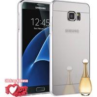 Coverzone Samsung Galaxy On7 Kılıf Aynalı Bumper Çerçeve Gümüş + 3D Araç Kokusu