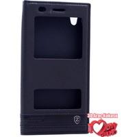 Coverzone Huawei Y6 2 Kılıf Çift Pencereli Elite Siyah + 3D Araç Kokusu
