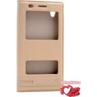 Coverzone Huawei Y6 2 Kılıf Çift Pencereli Elite Gold + 3D Araç Kokusu