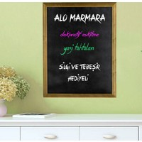Martı Yazı Tahtası 50x70 Dekoratif Ahşap Çerçeceveli Kara Tahta + Tebeşir + Yazı Tahtası Silgisi