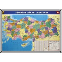 Martı Harita Türkiye Siyasi Haritası 70x100 Metal Çerçeve + 1 Paket Renkli Harita Çivisi