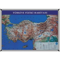 Martı Harita Türkiye Fiziki Haritası 70x100 Metal Çerçeve + 1 Paket Renkli Harita Çivisi