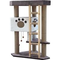 Agira Çok Katlı Oyuncaklı Üçgen Kedi Tırmalama Ve Oyun Evi 115 Cm