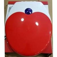 Çelik Ayna Çocuk Adaptörlü Çift Kullanımlı Klozet Kapağı -Kırmızı