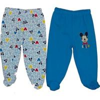 Disneybaby Mickey Mouse Desenli 2'li Patikli Pantolon - Mavi - 3 - 6 Ay