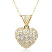 Argentum Concept Zirkon Taşlı 14 Ayar Altın Kalp Kolye Gn07001