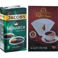 Jacobs Monarch Filtre Kahve + Coffee Time 1x4 Kahve Filtre Kağıdı 100'lü