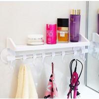 Anka Raflı Ve Kancalı Vantuzlu Banyo Askılığı