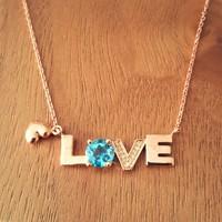 Bella Gloria Mavi Topaz Pırlanta Aşk Kolyesi (Gpk0047)