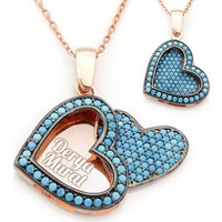 Mina Silver Açılan Kalp İsimli Gümüş Firuze Taşlı Kişiye Özel Rose Kaplama Kolye
