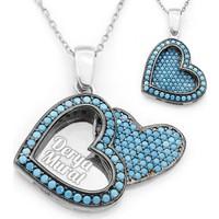 Mina Silver Açılan Kalp İsimli Gümüş Firuze Taşlı Kişiye Özel Kolye