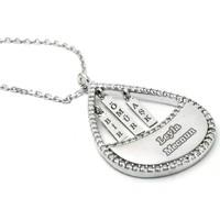 Mina Silver Bir Ömür Aşk Yazılı İsimli Gümüş Taşlı Kişiye Özel Kolye