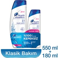 Head & Shoulders 2'si 1 Arada Şampuan Klasik Bakım 2'li Paket (550 ml + 180 ml)
