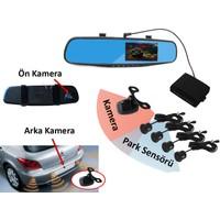 Bluecat Dikiz Ayna Kamerası Ön Kamera Kameralı Araç Kayıt Cihazı 1080P Arka Kamera 720P 170 Derece Ön Görüş 120 Derece Geri Görüş Park Sensörü İlaveli