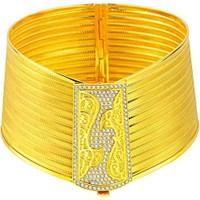 Bilezikhane Taşlı 11 Sıralı Hasır Kelepçe Telkari Desenli 22 Ayar Altın