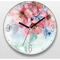 Juno Suluboya Çiçekler Duvar Saati