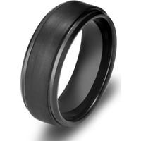 Chavin Erkek Mat Siyah Fırçalanmış Tungsten Yüzük Dm75 23