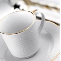 Kütahya Porselen Zümrüt Altın File Çay Fincan Takımı