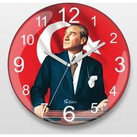 İf Dizayn Atatürk Ve Türk Bayrağı Sessiz Duvar Saati