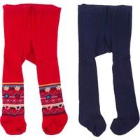 Tuc Tuc 2'li Bebek Külotlu Çorap Takımı Nordic Kırmızı - Lacivert Çiçekli