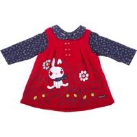 Tuc Tuc Bebek Elbise + T-Shirt Takım Nordic Kırmızı - Lacivert Çiçekli