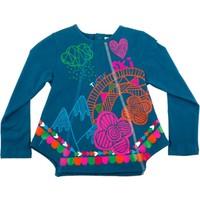 Tuc Tuc Çiçekli Uzun Kollu T-Shirt, Hivernage Koyu Mavi - Fuşya Çiçekli