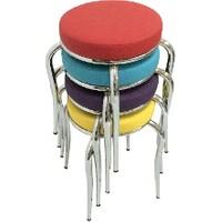 Gül Masa&Sandalye Mutfak Masa Sandalye Tabure Si 4 Adet Gökkuşagı Tabure Modern Tabure