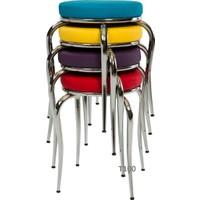Gül Masa&Sandalye Mutfak Masa Sandalye Tabure Si 6 Adet Gökkuşagı Tabure Modern Tabure