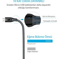Anker Powerline+ Micro USB Örgülü Şarj/Data Kablosu 1.8 Metre- Gri - Taşıma Çantalı