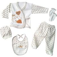 Karyel Bebe Tavşanlı 5 Parça Organik Bebek Hastane Çıkışı Zıbın Seti