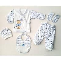 Karyel Bombinoo Ayıcıklı 5 Parça Organik Bebek Hastane Çıkışı Zıbın Seti