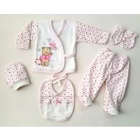 Karyel Bombinoo Mutlu Ayıcık 5 Parça Organik Kız Bebek Hastane Çıkışı Zıbın Seti