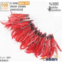 Abari B08 Ördek Tüyü Çinekop Çapari Kösteği Kırmızı 100Ad 8 No Beyaz İğne