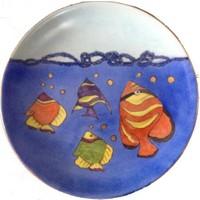 Vago Minds El Boyama Altın Süslemeli Porselen Tabak / Balık