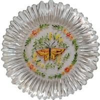 Vago Minds El Boyama Dekoratif Pasta Tabağı - Şeffaf / Renkli Kelebek