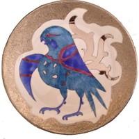 Vago Minds El Boyama Gümüş Süslemeli Porselen Tabak / Kuş