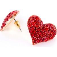 GC Accessory Kırmızı Taşlı Kalp Küpe