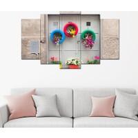 Hepsiburada Home 5 Parça Renkli Kapı Dekoratif Tablo 100x60 Cm