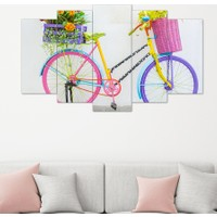Hepsiburada Home 5 Parça Renkli Bisiklet Dekoratif Tablo 100x60 Cm