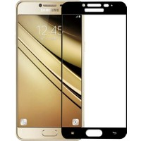 Case 4U Samsung Galaxy C7 Full Kapatan Cam Ekran Koruyucu Siyah