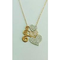 Aydın Mücevherat 14 Ayar Üç Kalp Taşlı Kolye